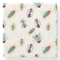 cute little bugs insects stone coaster