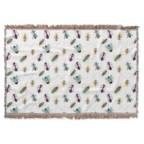 cute little bugs insects throw blanket