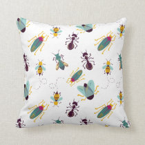cute little bugs insects throw pillow