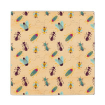 cute little bugs insects wood coaster