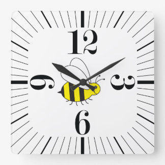 Cute Little Bumble Bee Modern Retro Square Wall Clock