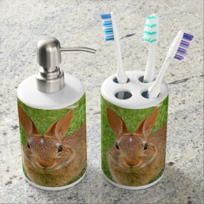 Easter Bunny Cute Animal Nursery Art Ilration Soap Dispenser And Toothbrush Holder Zazzle
