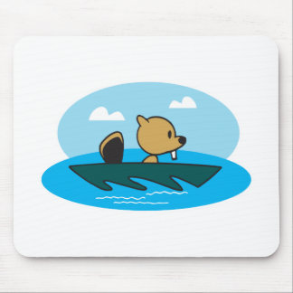cute little canoeing beaver mouse pad