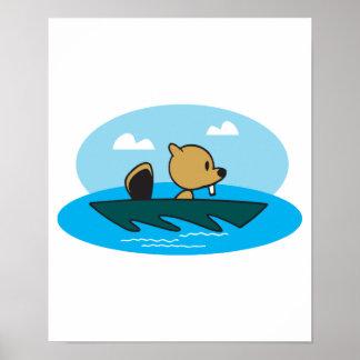 cute little canoeing beaver poster