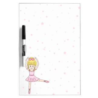 Cute Little Cartoon Ballerina Girl in Pink Dry-Erase Board