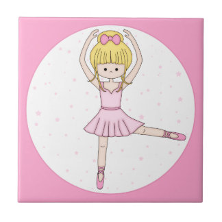Cute Little Cartoon Ballerina Girl in Pink Small Square Tile