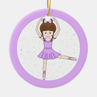 Cute Little Cartoon Ballerina Girl in Purple Double-Sided Ceramic Round Christmas Ornament
