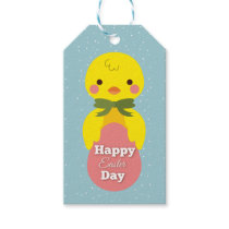 Cute little cartoon chick easter greetings gift tags