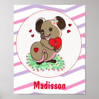 Cute little cartoon mice holding a heart poster