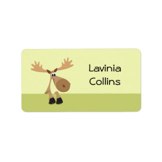 Cute little cartoon moose green name label/tag