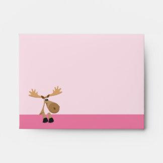 Cute little cartoon moose - pink envelope