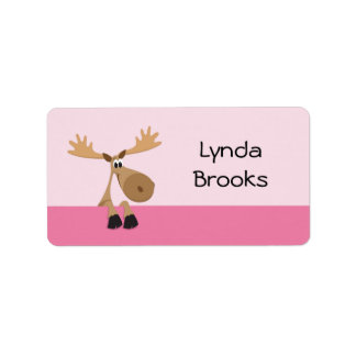 Cute little cartoon moose - pink name label/tag