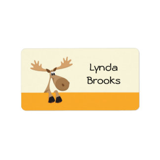 Cute little cartoon moose yellow name label/tag