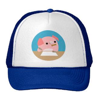 """Cute Little Cartoon Pig """"Writer's Block"""" Hat"""