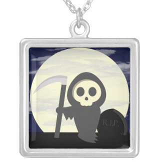 Cute Little Cartoon Skeleton Grim Reaper Silver Plated Necklace