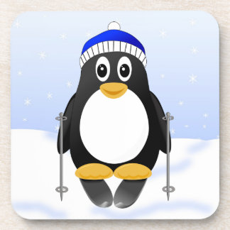 Cute Little Cartoon Skiing Penguin Beverage Coaster
