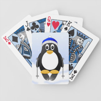 Cute Little Cartoon Skiing Penguin Bicycle Playing Cards