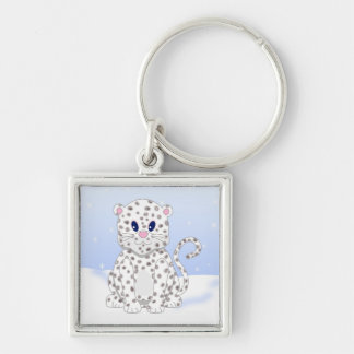 Cute little Cartoon Snow Leopard Cub Silver-Colored Square Keychain
