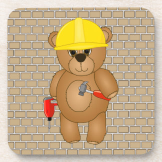 Cute Little Cartoon Teddy Bear Handyman with Tools Drink Coaster