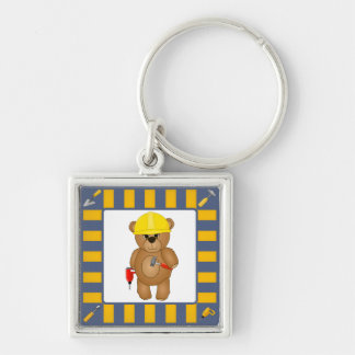 Cute Little Cartoon Teddy Bear Handyman with Tools Keychain