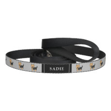 Cute Little Cartoon Yorkie Dogs & Pet's Own Name Pet Lead