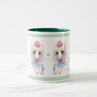 Cute little cat girls two-tone mug