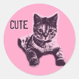 Cute Little Cat Kitten Kitty Pet Classic Round Sticker