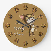 Cute Little Cheetah Print Bengal Kitty Kitten Cat Large Clock