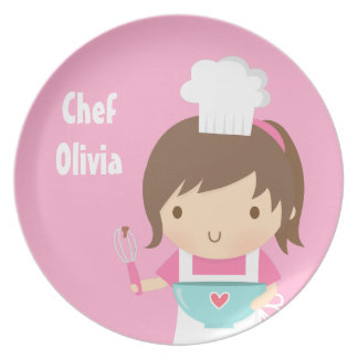 Cute Little Chef Baker Girl Dinner Plate