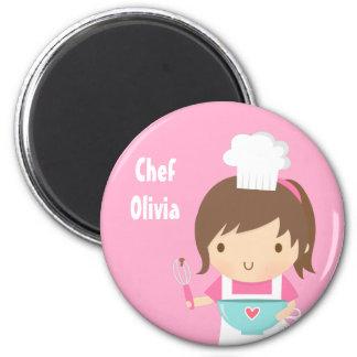 Cute Little Chef Baker Girl Fridge Magnet