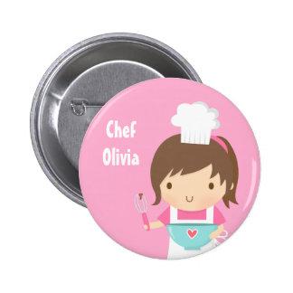 Cute Little Chef Baker Girl Pinback Button