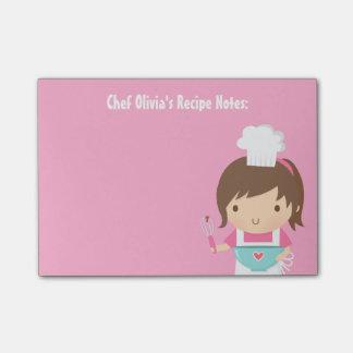 Cute Little Chef Baker Girl Recipe Post-it® Notes