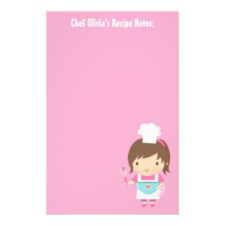 Cute Little Chef Baker Girl Recipe Stationery