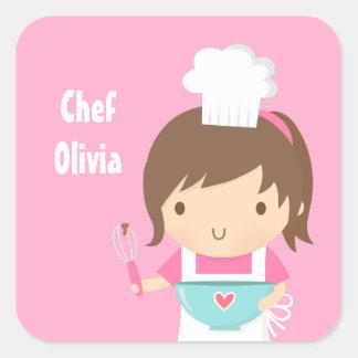 Cute Little Chef Baker Girl Square Sticker