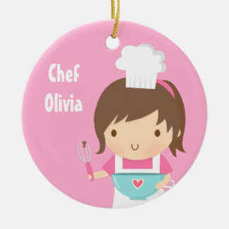 Cute Little Chef Baker Girls Room Decor Double-Sided Ceramic Round Christmas Ornament