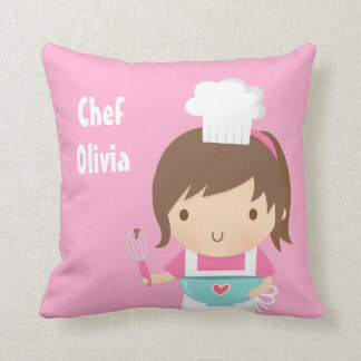 Cute Little Chef Baker Girls Room Decor Throw Pillow