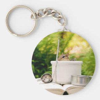 Cute Little Chef Chipmunk Basic Round Button Keychain