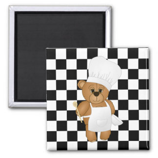 Cute Little Chef Costume Teddy Bear Cartoon 2 Inch Square Magnet