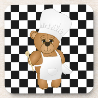 Cute Little Chef Costume Teddy Bear Cartoon Beverage Coaster