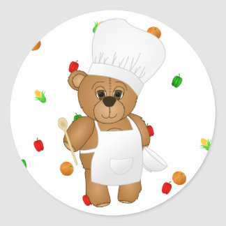 Cute Little Chef Costume Teddy Bear Cartoon Classic Round Sticker