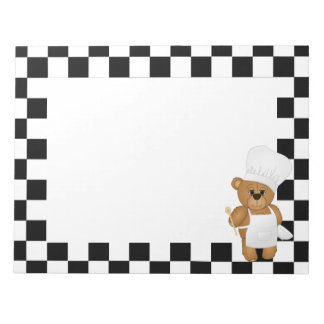 Cute Little Chef Costume Teddy Bear Cartoon Notepad