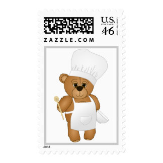 Cute Little Chef Costume Teddy Bear Cartoon Stamps