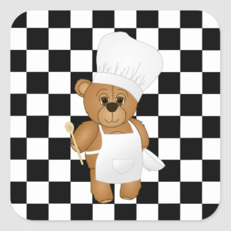 Cute Little Chef Costume Teddy Bear Cartoon Square Sticker