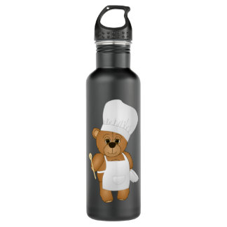 Cute Little Chef Costume Teddy Bear Cartoon Stainless Steel Water Bottle