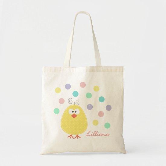 Cute Little Chickie Custom Name Easter Tote Bag
