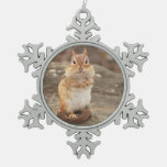 Cute Little Chipmunk Snowflake Pewter Christmas Ornament