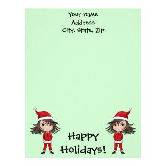 Cute little Christmas elf chibi Letterhead