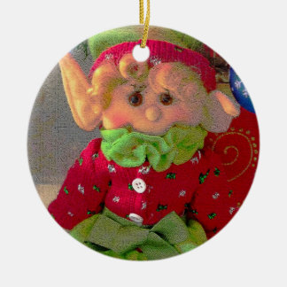 Cute little Christmas girl elf Ceramic Ornament