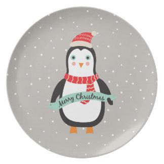 """Cute little Christmas Penguin """"Merry Christmas"""" Melamine Plate"""