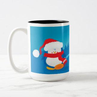 Cute little Christmas penguin Two-Tone Coffee Mug